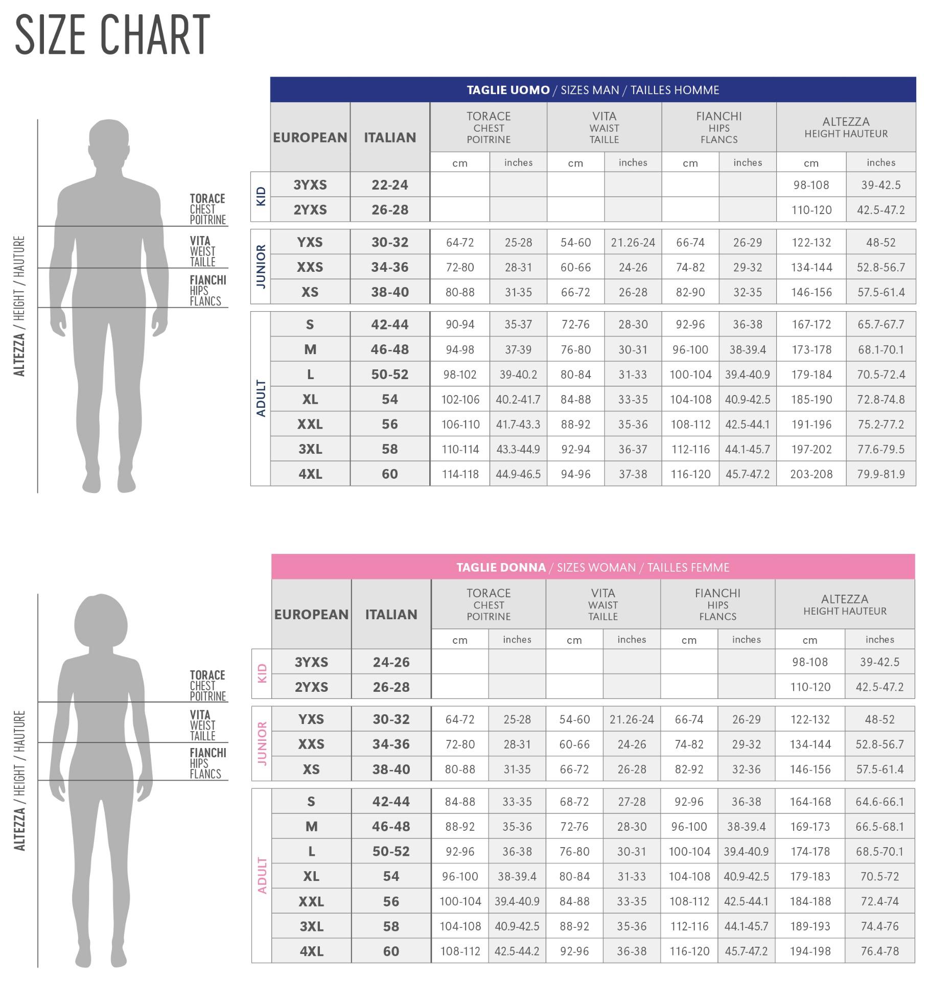 Errea Size Chart